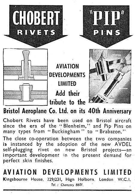 Aviation Developments. Avdel. Chobert Rivets. Pip Pins