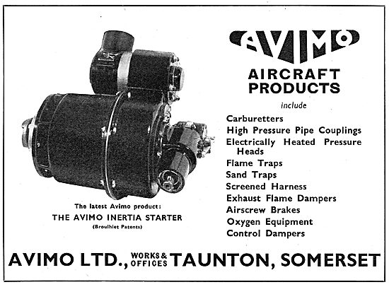 Avimo Aircraft Products: Carburetters, Couplings, Flame Traps.