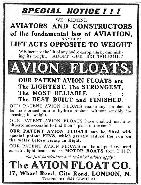 The Avion Float Co - Avion Aeroplane Floats