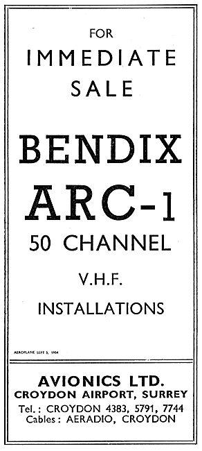 Avionics Ltd. Croydon  Bendix ARC-1 50 Channel VHF Installations