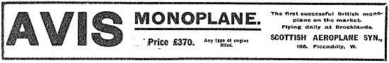 the Avis Monoplane - The First Successful British Monoplane