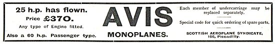 Avis Monoplane 25 or 60 HP £370 (Any Type Of Engine Fitted)
