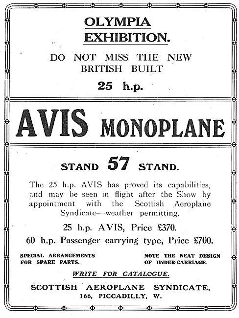 Avis Monoplane 60 HP Passenger Carrying Type