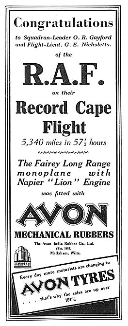 Record Cape Flight Fitted With Avon Mrchanical Rubbers