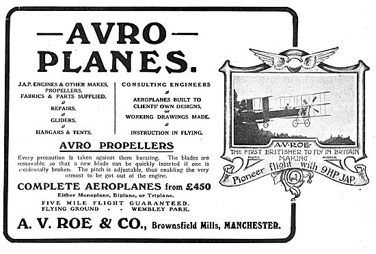 Avro - Complete Aeroplanes From £450 (Monoplane to Triplane)