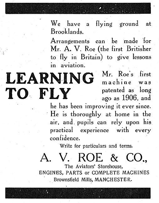 Learn To Fly At Brooklands With Mr A.V.Roe