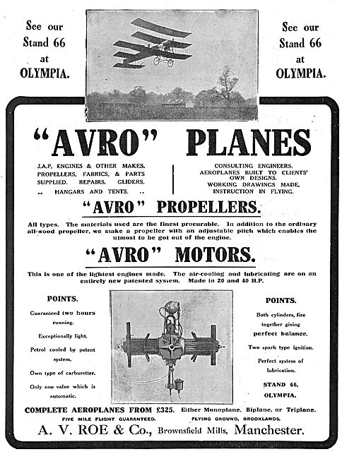 See Avro Planes, Motors & Propellers At Olympia