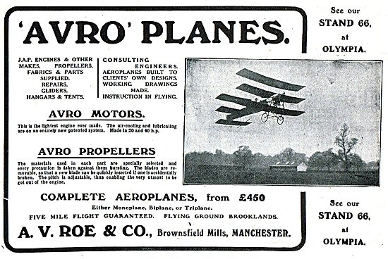 Avro Planes JAP Engines. Aircraft Built To Clients Specification