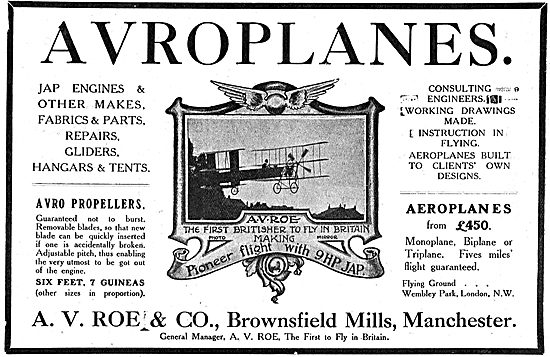 Avroplanes. A.V.Roe & Co Brownsfield Mills Manchester