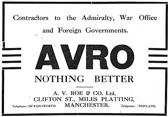 A.V.Roe & Co. Aircraft Manufacturers - Government Contractors