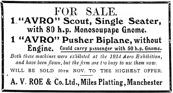 Avro Scout 80HP Monosoupape Gnome For Sale At A.V.Roe & Co