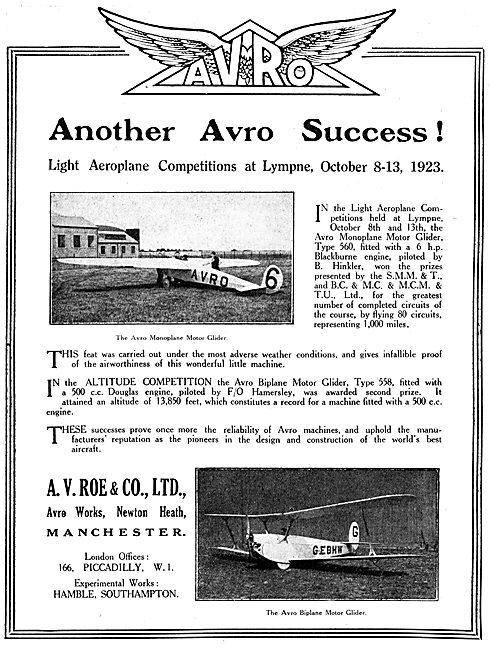 Avro Motor Gliders. Lympne 1923. Avro Biplane Motor Glider