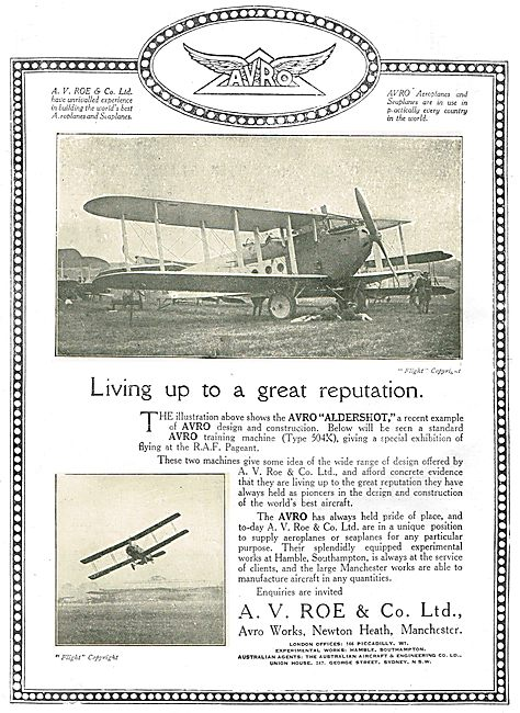 Living Up To A Great Reputation. Avro Aldershot