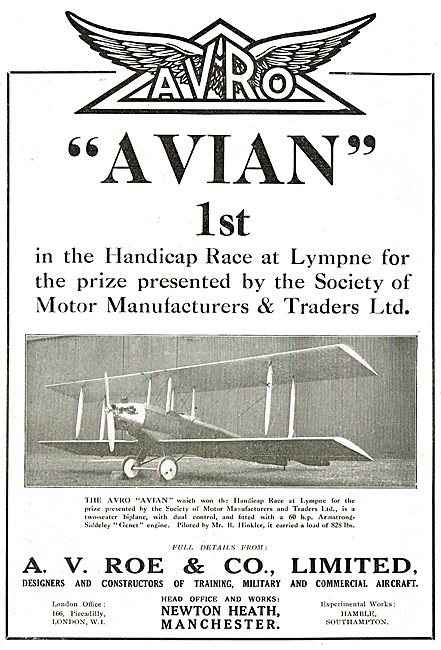 Avro Avian - 1st In Handicap Race At Lympne