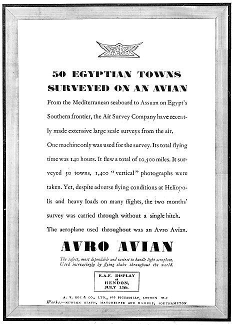Avro Avian - Air Survey Company 1924 Egypt Survey