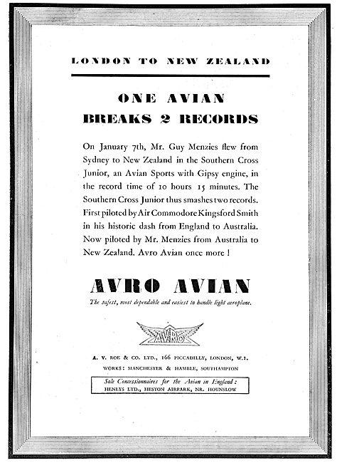 Avro Avian - London - New Zealand Records. Southern Cross Junior
