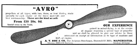 Avro Aeroplane Propellers Of All Types. From £10.10s.0d.