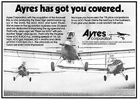 Ayres 600 Thrush Ag Aircraft