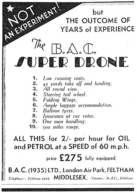 British Aircraft Company: BAC (1935) Super Drone Features & Costs