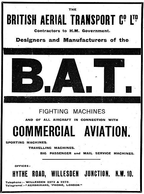 British Aerial Transport. B.A.T Commercial & Military Aircraft