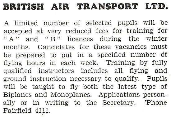 British Air Transport . Flying School 1931