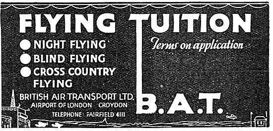 British Air Transport - BAT. Flying Training Croydon