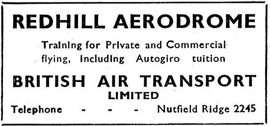 British Air Transport. Redhill. Flying Training