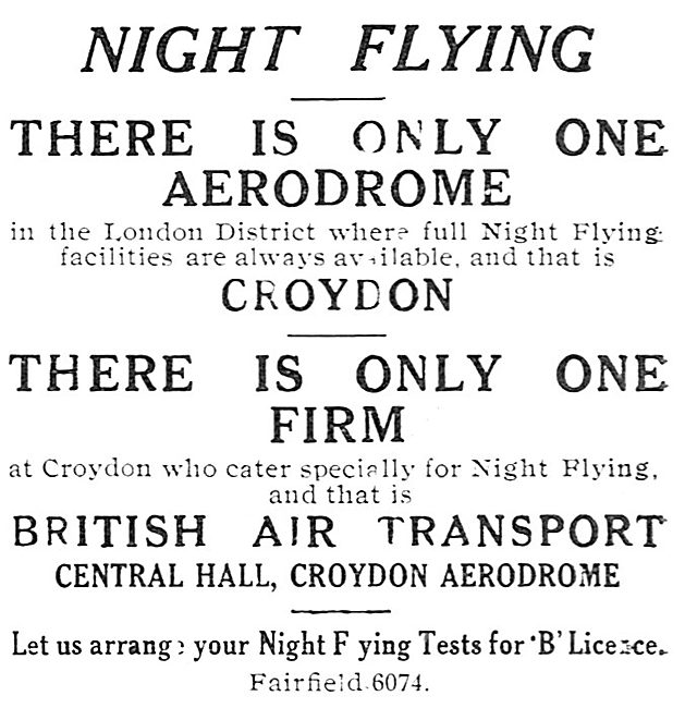 B.A.T. British Air Transport. Croydon. Flying Training