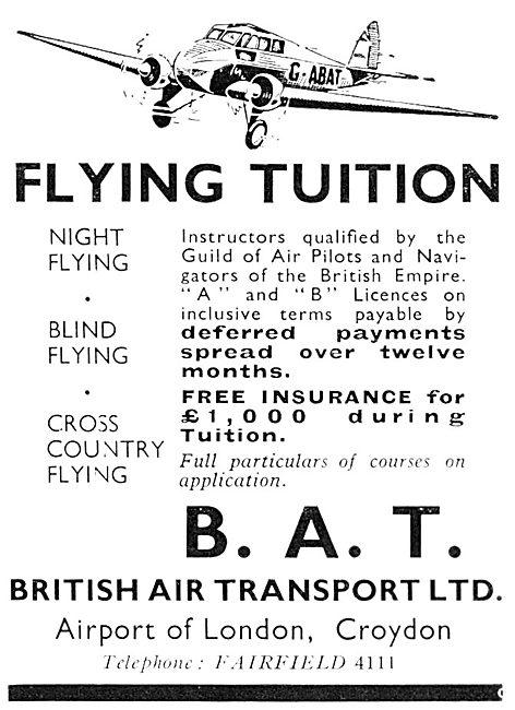 B.A.T. British Air Transport. Croydon. Flying School