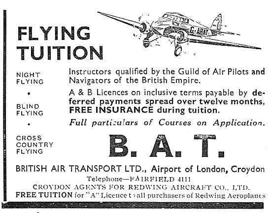 British Air Transport - BAT. Flying Tuition Croydon