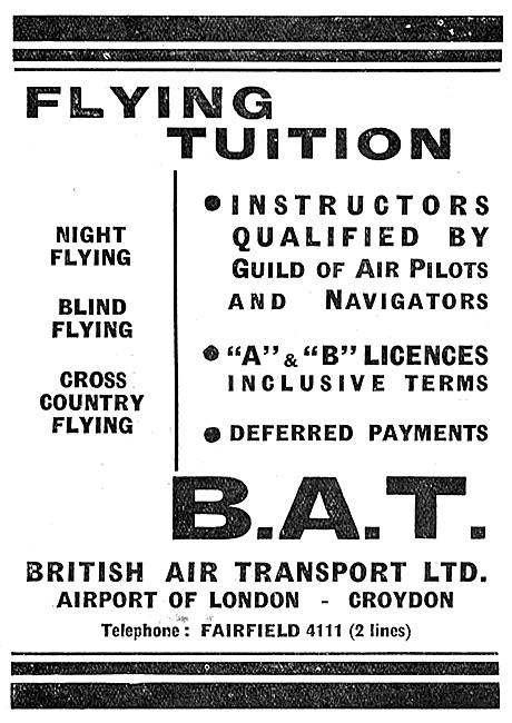 British Air Transport Flying School Croydon B.A.T.