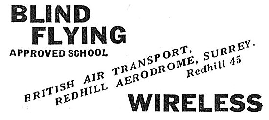 British Air Transport Redhill - Blind Flying & Wireless Training