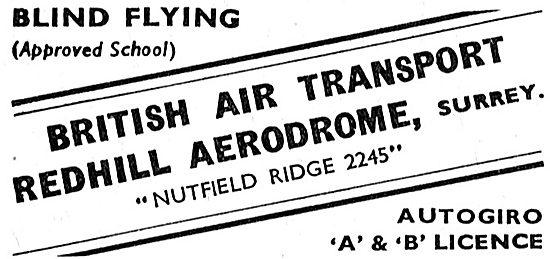 BAT: British Air Transport. Redhill. Flying Training