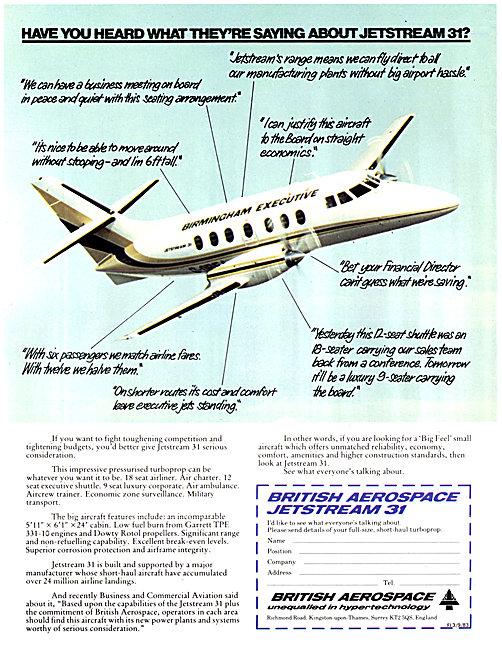 British Aerospace BAe Jetstream 31 Birmingham Executive Airways