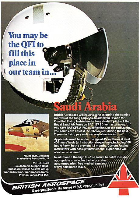 British Aerospace BAe Pilot Recruitment Saudi Arabia Contract