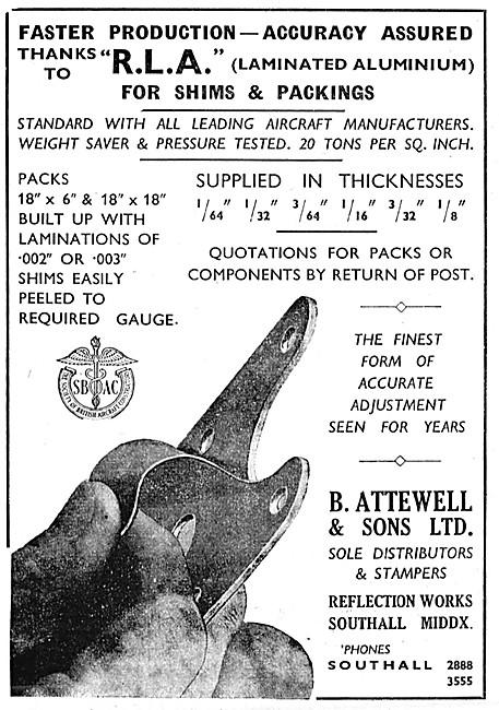 B.Attewell R.L.A. Laminated Aluminium Shims