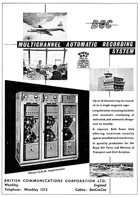 BCC British Communications Corporation. ATC Recording System