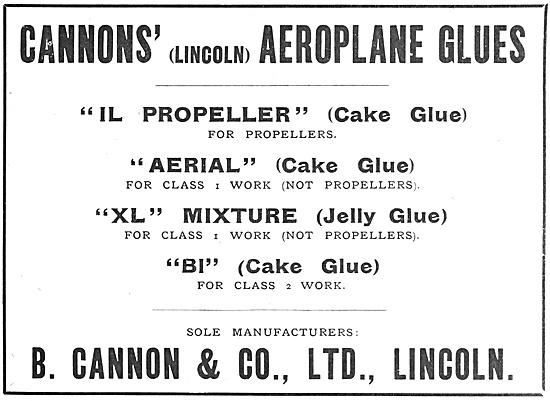 B.Cannon & Company. Glues For Aircraft. GLUIT. Cake Glue