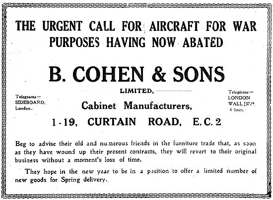 B.Cohen & Sons - Cabinet Manufacturers. Curtain Rd. 1919 Advert