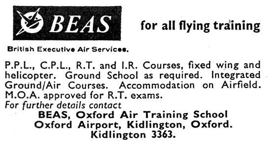 British Executive Air Services. BEAS. Oxford Air Training School