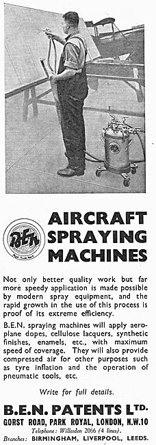 B.E.N.Patents Portable Dope Spraying Machine For Aircraft