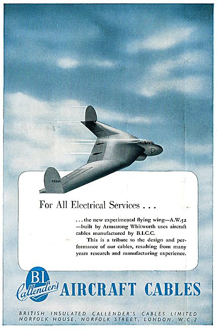BICC Aircraft Electrical Cables & Wiring 1949