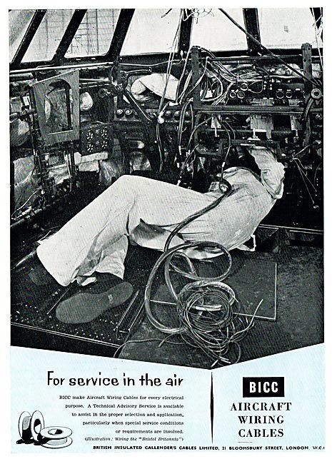 BICC Aircraft Wiring Cables. Bristol Britannia