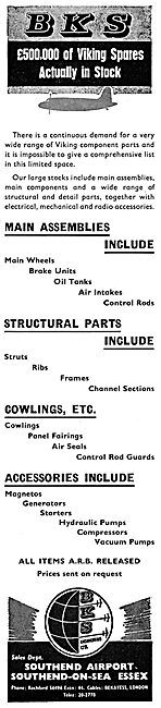B.K.S. Engineering. Southend. Aircraft Spares, Sales & Services