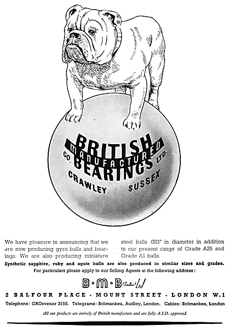 British Manufactured Bearings - BMB Bearings 1952 Advert