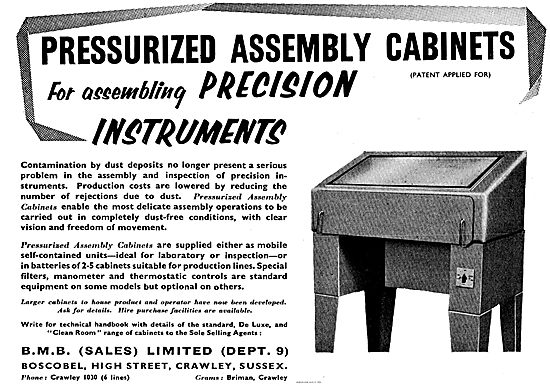 BMB Pressurized Assembly Cabinets For Instrument Assembly