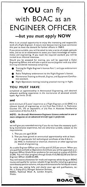 British Overseas Airways Corporation BOAC - Recruitemnt