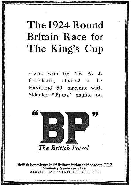British Petroleum BP Success For Alan Cobham In King's Cup