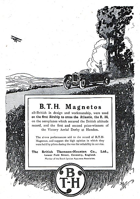 BTH Magnetos Used On The Atlantic R34 Airship