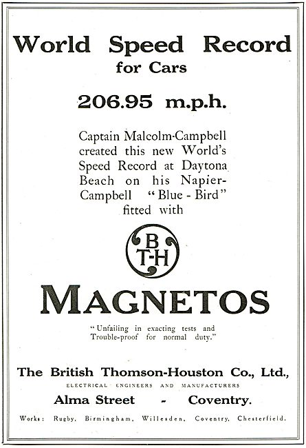 BTH Magnetos Fitted To Campbell's World Land  Speed Record Car